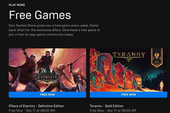 Two games are free at Epic Games in this week